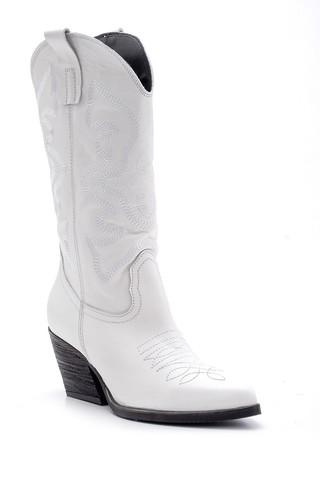 Kadın Deri Topuklu Kovboy Çizme