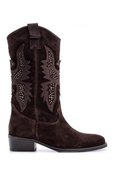 Kahverengi Kadın Süet Deri Kovboy Çizme 5638091227