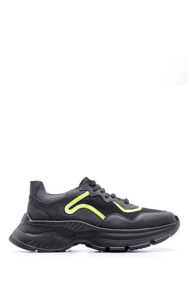 Siyah Erkek Yüksek Tabanlı Deri Sneaker 5638094684