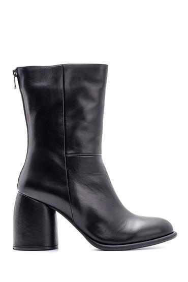 Siyah Kadın Topuklu Deri Bot 5638116162