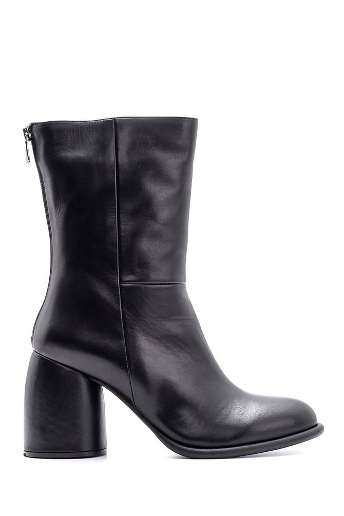 Siyah Kadın Topuklu Deri Bot 5638116166