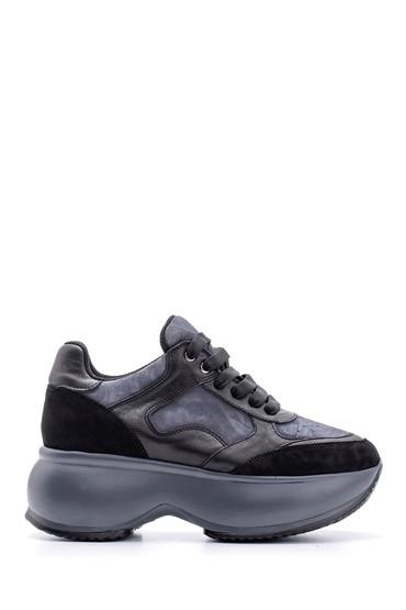 Siyah Kadın Yüksek Tabanlı Deri Sneaker 5638113864