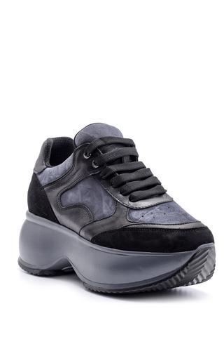 Kadın Yüksek Tabanlı Deri Sneaker
