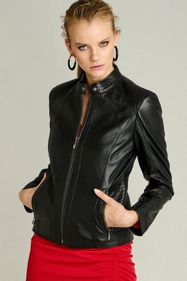 Siyah Norma Kadın Deri Ceket 5638087251