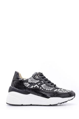 Kadın Yılan Deseni Detaylı Sneaker