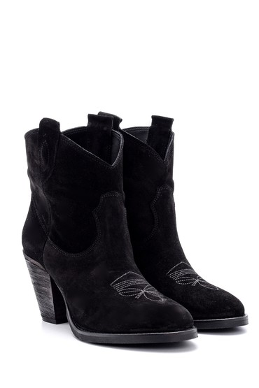 Siyah Kadın Topuklu Süet Deri Bot 5638091651