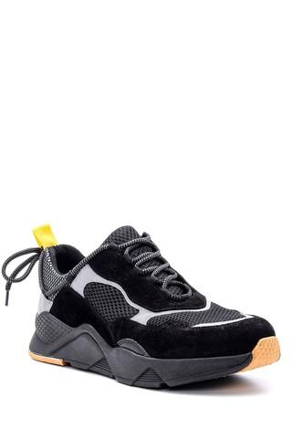 Erkek Süet Detaylı Deri Sneaker
