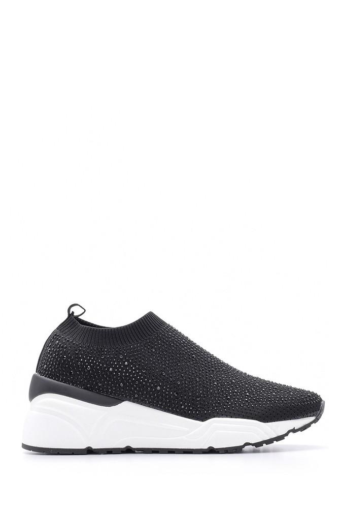 Siyah Kadın Taşlı Sneaker 5638090216