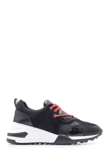Siyah Kadın Yılan Deseni Detaylı Sneaker 5638090266