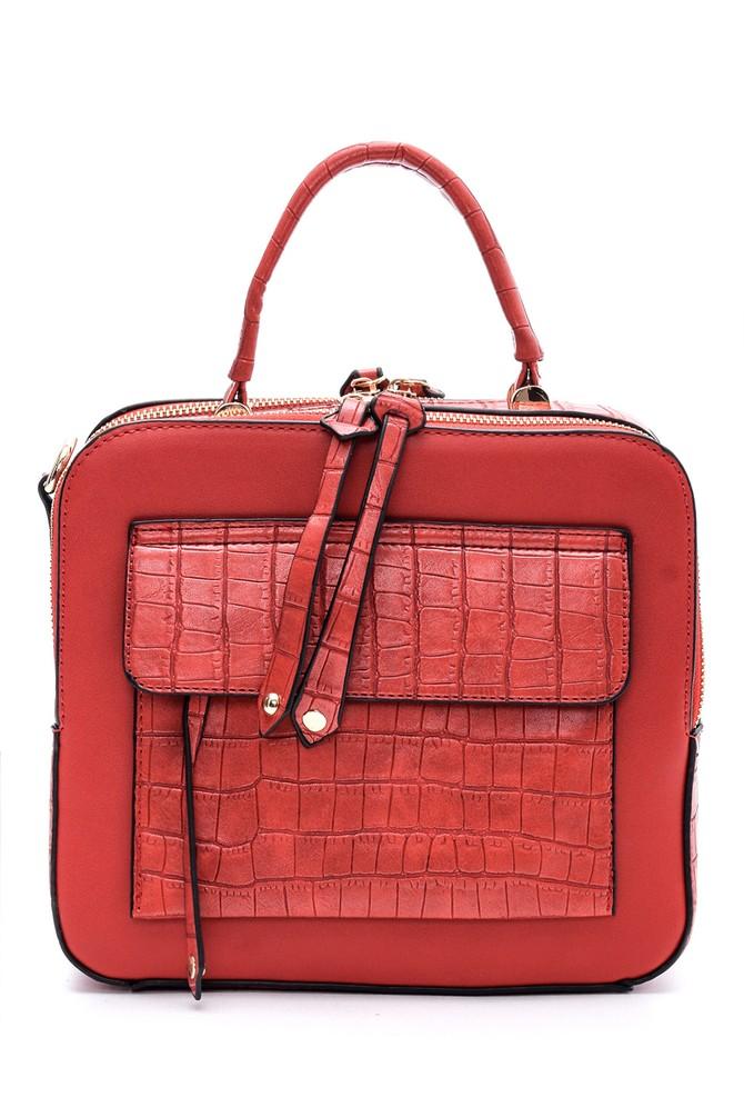 Kırmızı Kadın Kroko Detaylı Çanta 5638086227