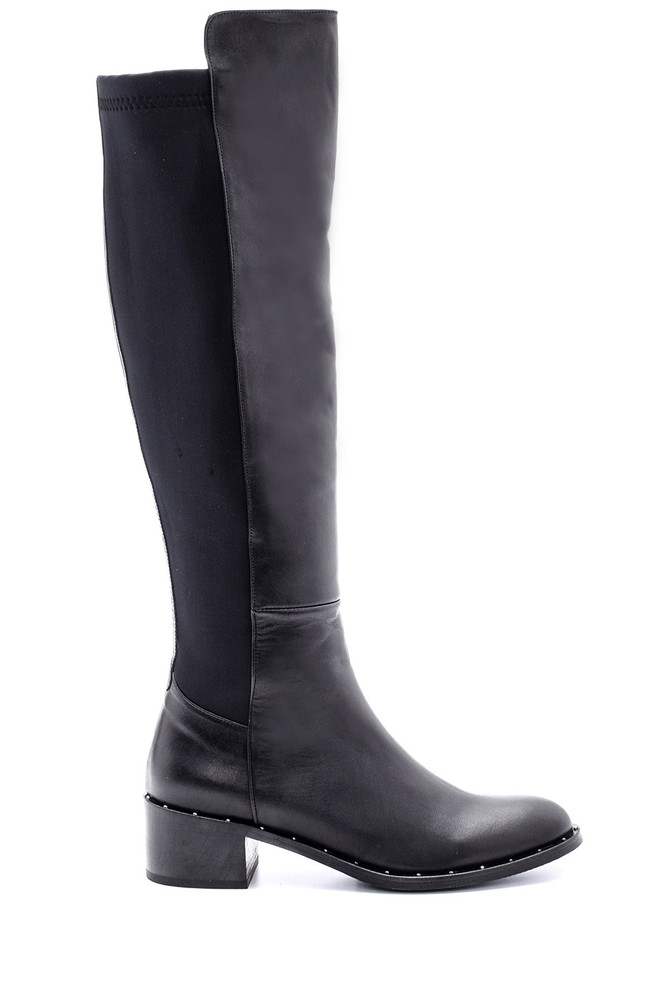 Siyah Kadın Topuklu Deri Çizme 5638087996