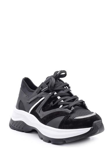 Siyah Erkek Süet Detaylı Deri Sneaker 5638094656