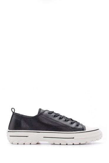 Siyah Kadın Deri Sneaker 5638114704