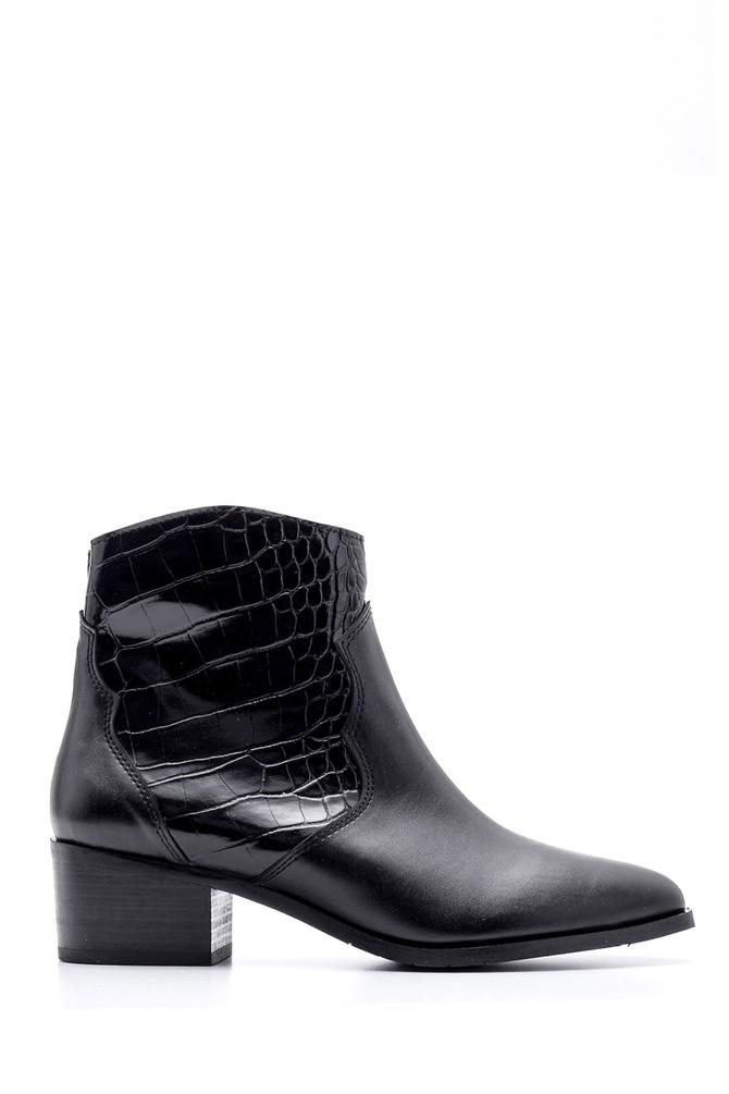 Siyah Kadın Kroko Detaylı Topuklu Bot 5638101943