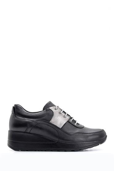 Siyah Kadın Dolgu Topuklu Deri Ayakkabı 5638087164