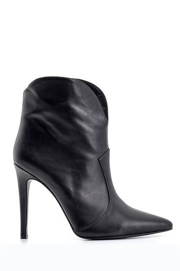 Siyah Kadın Topuklu Deri Bot 5638093569