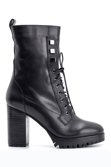 Siyah Kadın Topuklu Deri Bot 5638098136