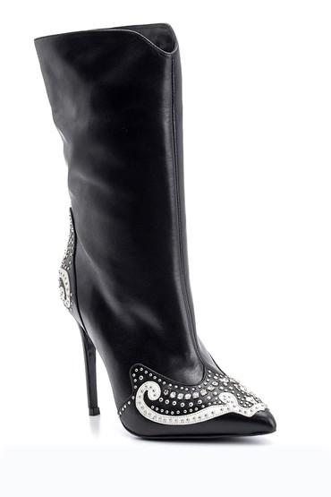 Siyah Kadın Taş Ve Zımba Detaylı Deri Çizme 5638098314
