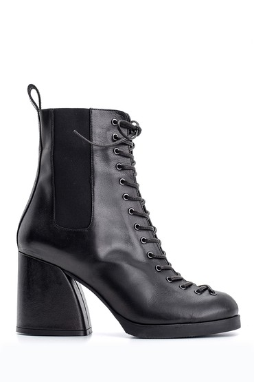 Siyah Kadın Topuklu Deri Bot 5638114901
