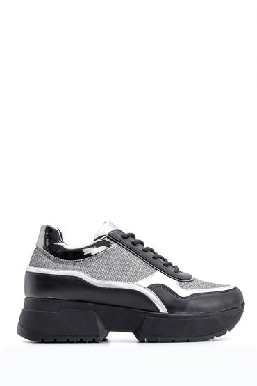 Siyah Kadın Yüksek Tabanlı Sneaker 5638117524