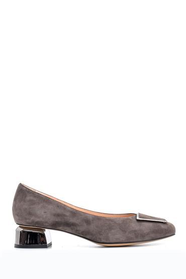 5638122603 Kadın Süet Deri Topuklu Ayakkabı