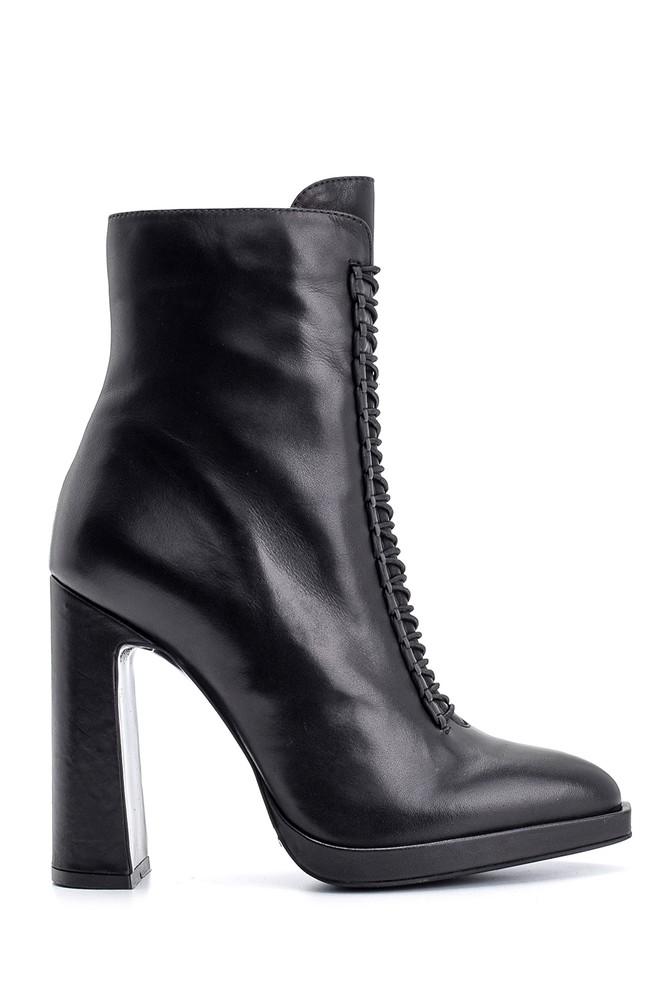 Siyah Kadın Topuklu Deri Bot 5638098232