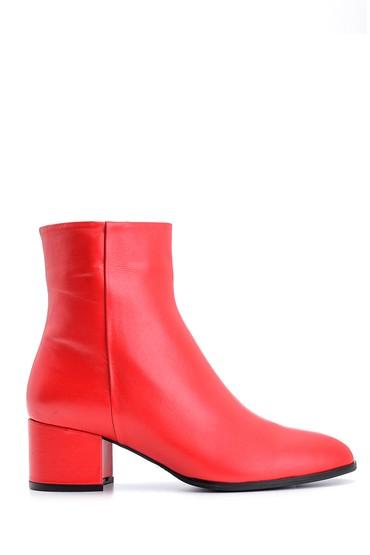 Kırmızı Kadın Topuklu Deri Bot 5638092837