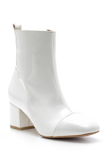 Beyaz Kadın Topuklu Rugan Deri Bot 5638092856