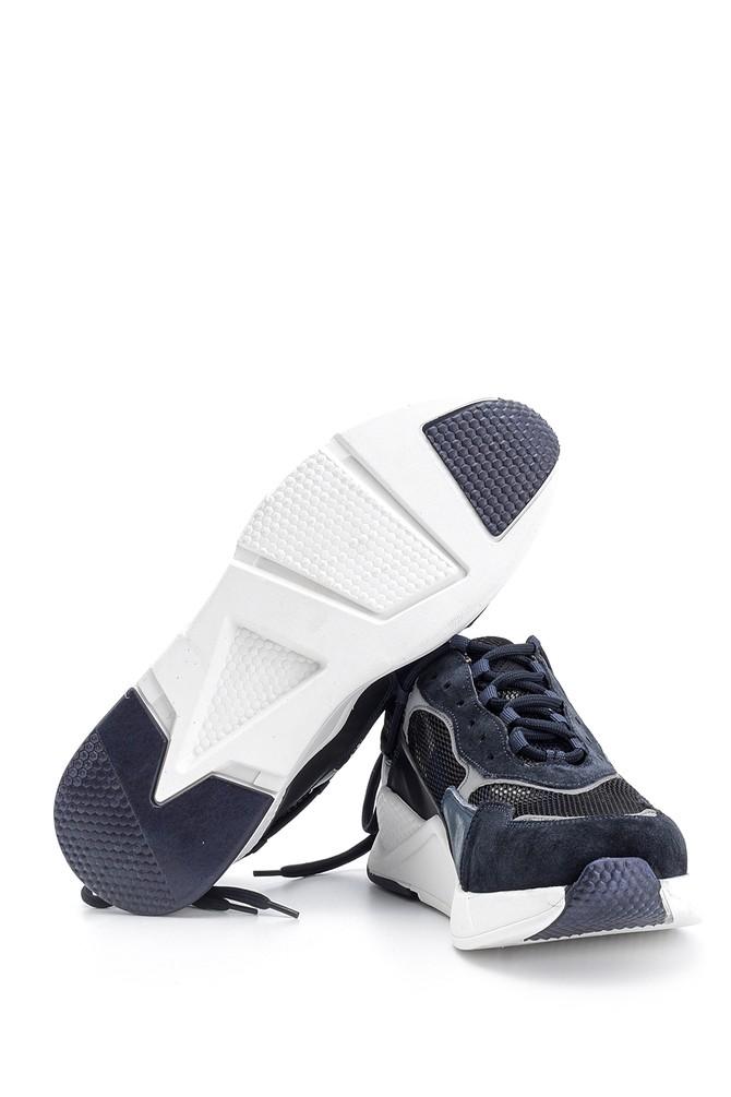 5638094751 Erkek Süet Detaylı Deri Sneaker