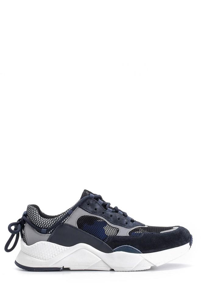 Lacivert Erkek Süet Detaylı Deri Sneaker 5638094751
