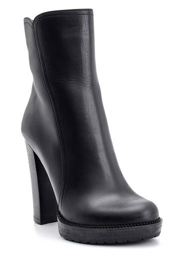 Siyah Kadın Topuklu Deri Bot 5638108519