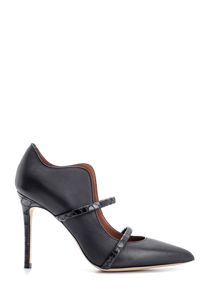 Siyah Kadın Deri Topuklu Ayakkabı 5638108354