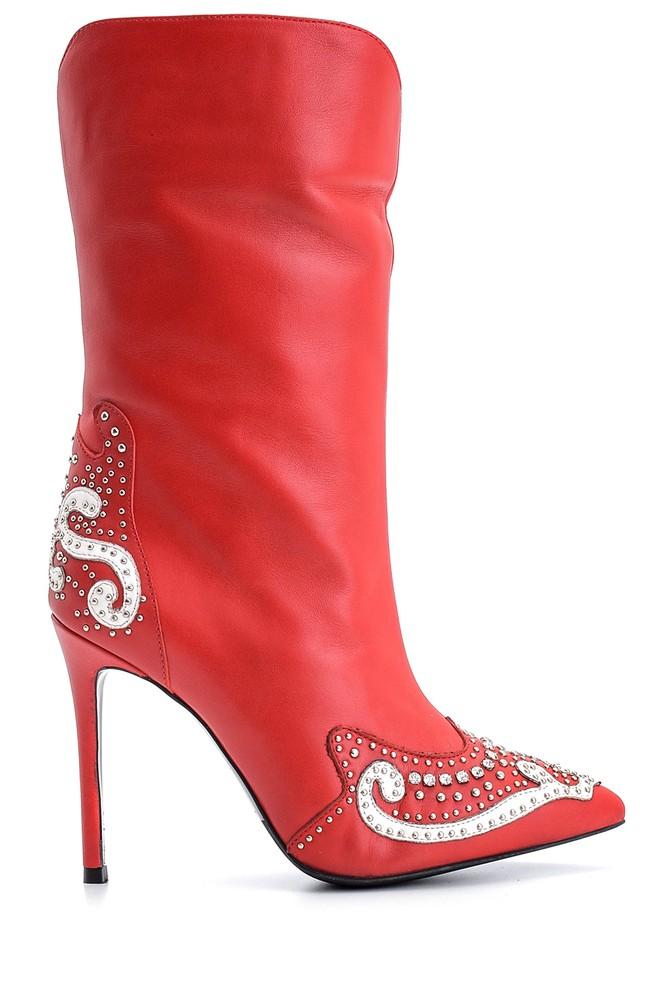 Kırmızı Kadın Taş Ve Zımba Detaylı Deri Çizme 5638098312