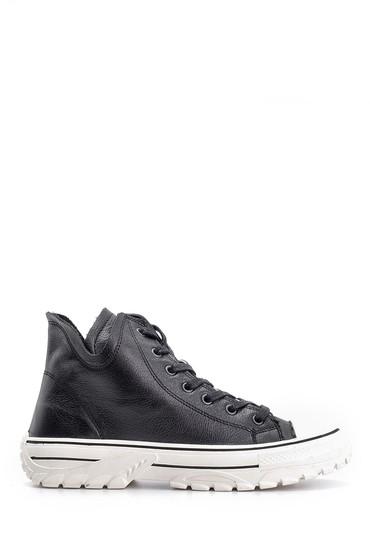 Siyah Kadın Deri Sneaker 5638116545