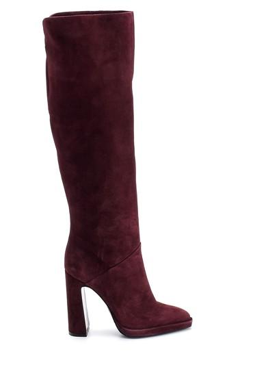 Bordo Kadın Topuklu Süet Deri Çizme 5638114961