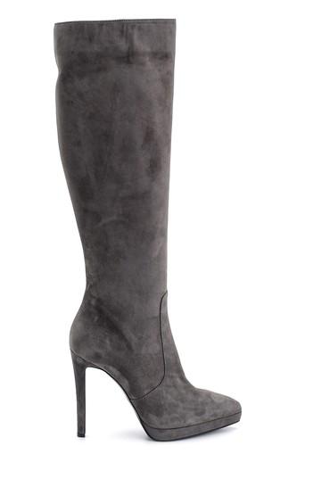 Gri Kadın Süet Deri Topuklu Çizme 5638114971