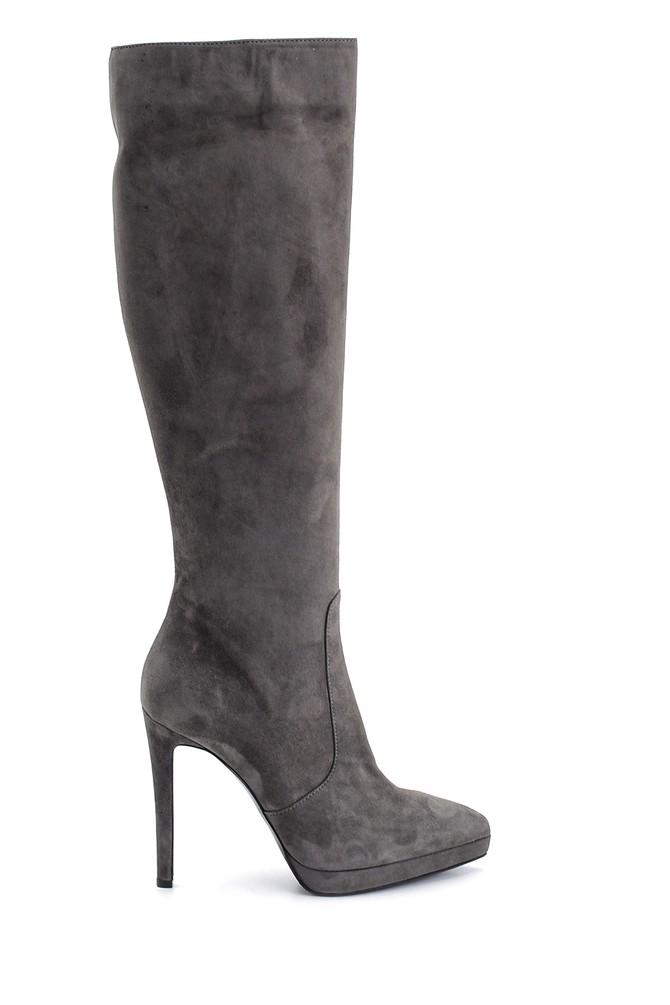 5638114977 Kadın Süet Deri Topuklu Çizme