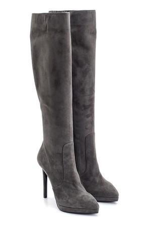 Kadın Süet Deri Topuklu Çizme
