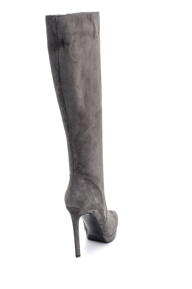 5638114971 Kadın Süet Deri Topuklu Çizme