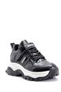 5638117557 Kadın Yüksek Tabanlı Rugan Detaylı Sneaker