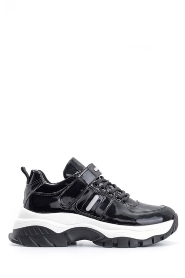 5638117542 Kadın Yüksek Tabanlı Rugan Detaylı Sneaker