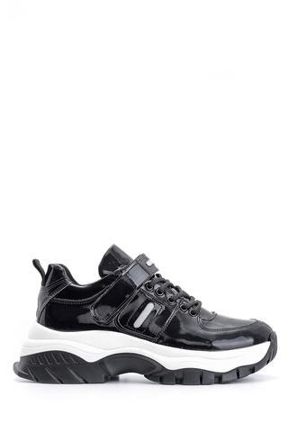 Kadın Yüksek Tabanlı Rugan Detaylı Sneaker
