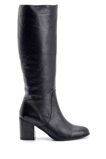 Siyah Kadın Topuklu Deri Çizme 5638121582