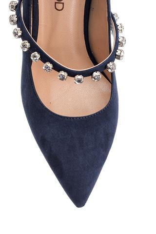 Kadın Taşlı Süet Deri Topuklu Ayakkabı