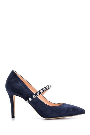 Lacivert Kadın Taşlı Süet Deri Topuklu Ayakkabı 5638122561