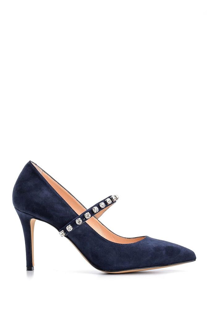Lacivert Kadın Taşlı Süet Deri Topuklu Ayakkabı 5638122553