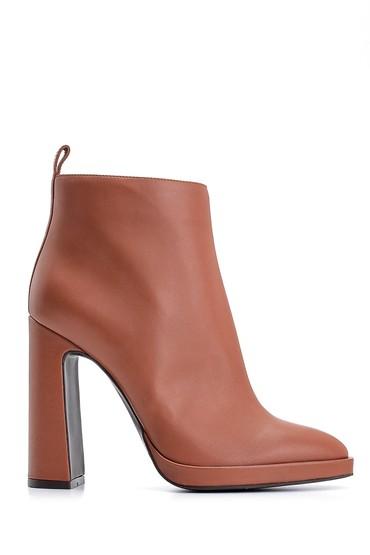 Kahverengi Kadın Topuklu Deri Bot 5638122562