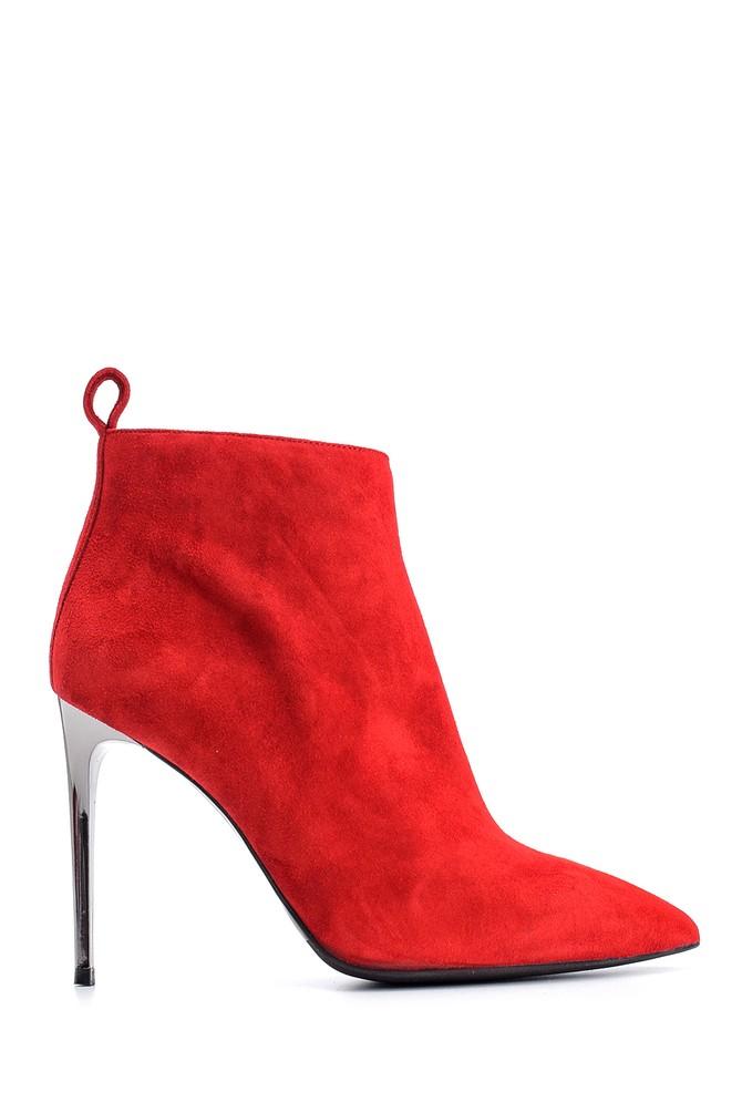 Kırmızı Kadın Süet Deri Topuklu Bot 5638122589