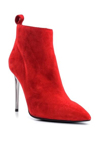 Kırmızı Kadın Süet Deri Topuklu Bot 5638122581