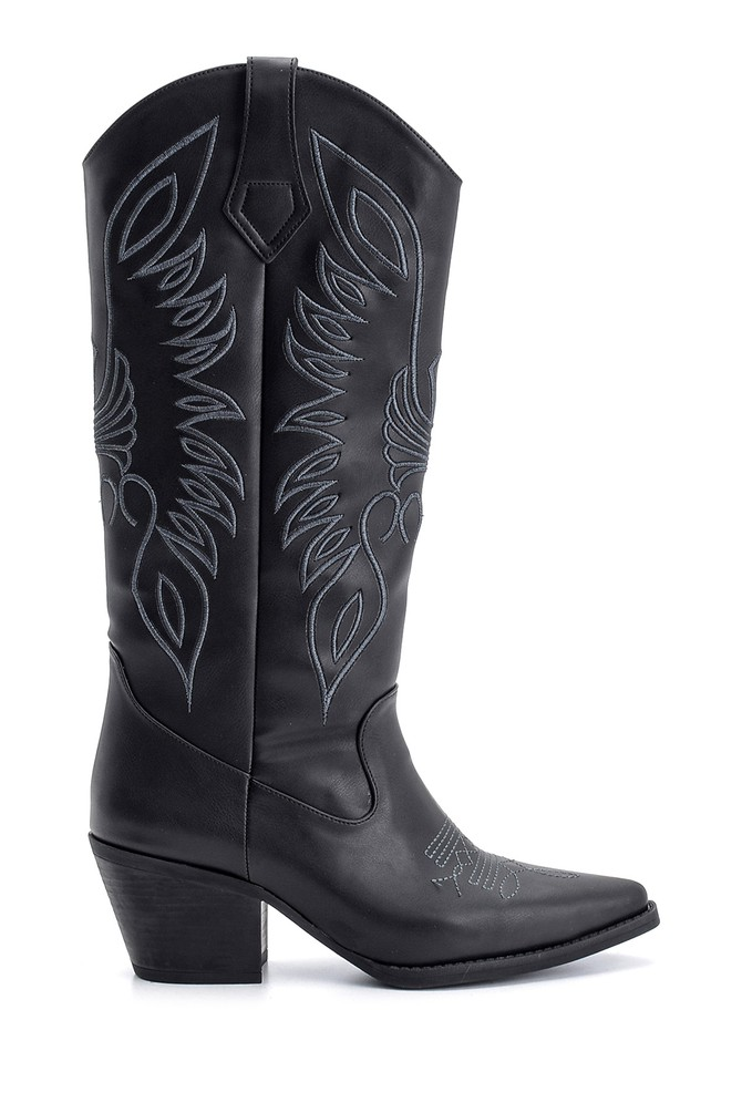 Siyah Kadın Topuklu Kovboy Çizme 5638122792
